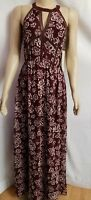 Modcloth NEW DOE & RAE Halter Maxi Evening Dress Floral Brown Size S