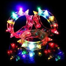 Flashing LED Rivet Party Bracelet Wristband Dance Disco Bangle Light Up Rave SD