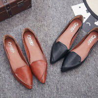 Women's Pointed Toe Flat Shoes Slip Flats Slip-On PU Leather Flat Shoes Size 4-9