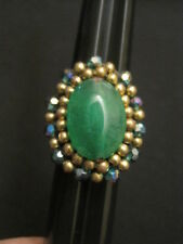 Handmade Blue and Green Beaded Ring with Crocheted Band Size 8