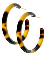 Tortoise Shell Hoop Earrings 1 5/8 Inches Stainless Steel Posts backs
