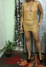 Women's Micro Mini Sheer Lace See Through Net Dress Clubwear 523