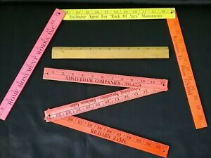 Folding Yardsticks (2) + Wooden Vintage Foot Ruler w Brass Edge
