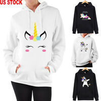 Women Unicorn pattern Long Sleeve Hoodie Sweatshirt Sweater Hooded Tops Pullover