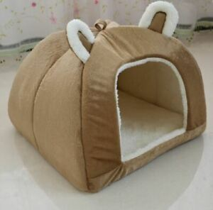 Pet Dog Cat House Beds Kennel Tent Cushion Mat Revoable Puppy Kitty Brown S,M,L