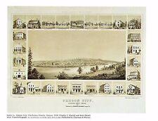 "1976 Vintage CITY ""OREGON CITY, CLACKAMAS COUNTY (1858)"" Color Art Lithograph"