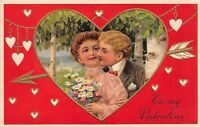 D39/ Valentine's Day Love Holiday Postcard 1910 8096 8099 Man Woman Kiss 2