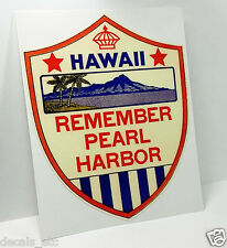 Hawaii - Remember Pearl Harbor, Vintage Style WWII Travel Decal, Vinyl Sticker