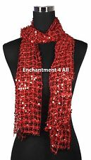 Sassy Handmade Crochet Net Stage Scarf Wrap Costume w/ Dazzling Sequins, Red