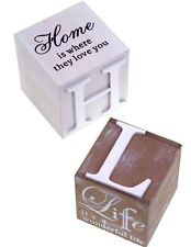 'Home is where they love you' or 'It's a wonderful life' Wooden Cube Choice of 2