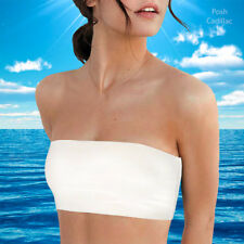 COTTON White Strapless Sports Bra Casual Formal Boob Tube Top Bandeau XS-M