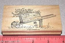 Stampin Up Wheel barrel Stamp Single Garden Wooden with Flowers Country Style