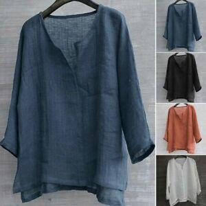 Summer Mens Cotton Linen V Neck T Shirt Long Sleeve Blouse Casual Baggy Tee Tops