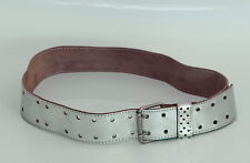 Silver Tone Double Row Soft Leather Womens Belt Made in Israel 1980's