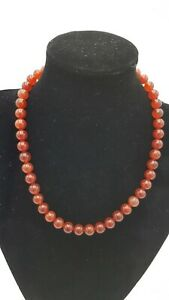 Carnelian Red/ Orange round beaded necklace