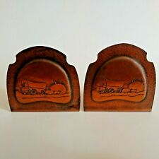 Antique COPPER BOOKENDS ARTS & CRAFTS COVERED WAGON COWBOY STEER WESTERN WARE CO