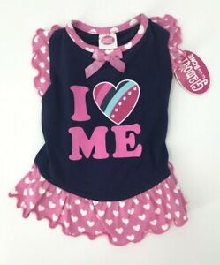 "New Glamour to the Bone Doggie Dress Size Small ""I Love Me"" Pink Blue Hearts"