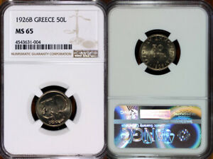 1926-B Greece 50 Lepta NGC MS65