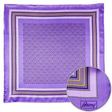 Men's BRIONI Purple Abstract Silk Hand Made Rolled Pocket Square Handkerchief