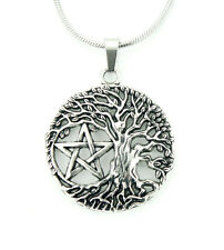 """Tree of Life Pentacle Necklace, Wicca Pentagram Star Pendant, 16""""-50"""" long chain"""