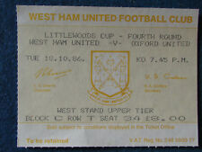 West Ham United v Oxford United - 18/10/86 - Ticket - Littlewoods Cup 4th Rd