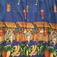 Hawaiian Aloha Friday Shirt Mens 3XL Tiki Cocktail Beach Hut Blue Short Sleeve