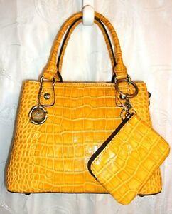 Patricia Nash Goldenrod Distressed Vintage Croc Leather Crossbody Purse NWT