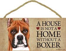 Boxer Wood Dog Sign Wall Plaque Photo Display 5 x 10 + Bonus Coaster