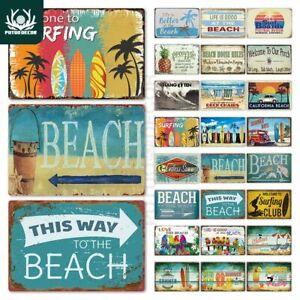 Beach Hanging Sign Metal Plaque Tin Wall Decoration Bar Rustic Hawaii Retro New