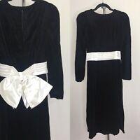 Vintage 80s Black Velvet Wiggle Dress Size Extra Small