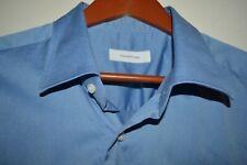 $475 Ermenegildo Zegna Blue Solid Cotton Dress Shirt 17.5 38