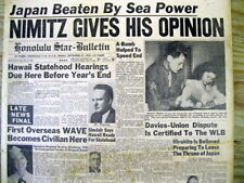 <1945 newspaper ATOMIC BOMB ENDS WW II Admiral Chester Nimitz on NAVAL POWER