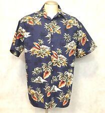 Pierre Cardin Hawaiian Shirt Mens L Blue Printed Palm Trees Island Wear Apparel