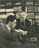 L'écrivain Lucio Mastronardi et sa mère Vintage silver print,Lucio Mastro