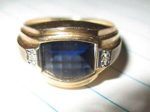 MENS  SIZE 11 CHECKERBOARD CUT SAPPHIRE SOLITARE DIAMOND ACCENT RING 10K GOLD