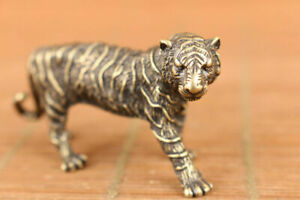 Chinese Old Bronze Art Tiger Statue Figure Collectable Good Stand Rare
