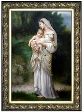 Framed Bouguereau L'Innocence Repro, Quality Hand Painted Oil Painting 24x36in