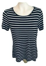 Spense Womens Stretch Top Black White Striped Short Button Sleeves Size L
