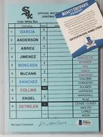 CHICAGO WHITE SOX GAME-USED DUGOUT LINEUP CARD BECKETT BAS COA SIGNED MLB ABREU