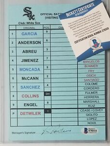 CHICAGO WHITE SOX GAME-USED DUGOUT LINEUP CARD BECKETT BAS COA SIGNED MLB ABREU