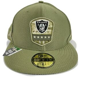 New Era 59Fifty Hat Oakland Raiders NFL 2019 Salute To Service Cap Fitted 7 3/8