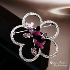 18K White Gold Filled Made With Swarovski Crystal Large Butterfly Flower Brooch
