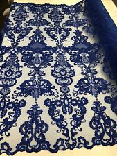 Royal Blue French Corded Design-embroider With Sequins Mesh Lace Fabric By Yard