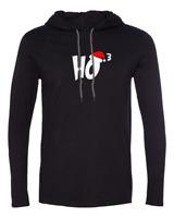 Mens Hooded Ho 3 T-shirt Ho Ho Ho Christmas Shirt Xmas Santa Claus Long Sleeve