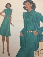 Vogue 9118 Vintage Sewing Pattern Womens Size 16 Jacket Bow Blouse Dress Cut