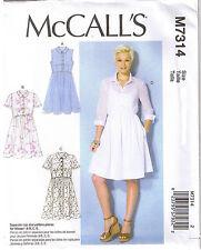 Pullover Collar Shirt Dress Raised Waist McCalls Sewing Pattern 6 8 10 12 14