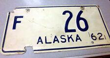 vintage RARE Low number 1962 Alaska Farm plate, F 26, some damage, hard 2 find