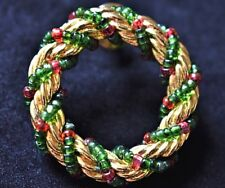 Vintage Beaded Christmas Wreath Brooch Coat Sweater Pin Holiday Costume Jewelry