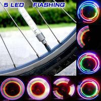 2PCS Bicycle Wheel Tyre 5 LED Flash Light Motorcycle Car Tire Valve Cap Lamp New