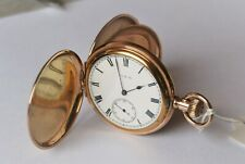 Beautiful Antique Gold Plated Gents Elgin Hunter Pocket Watch. Working.